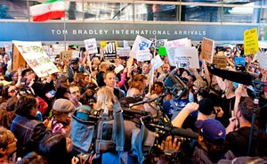 Proteste am Los Angeles International Airport.
