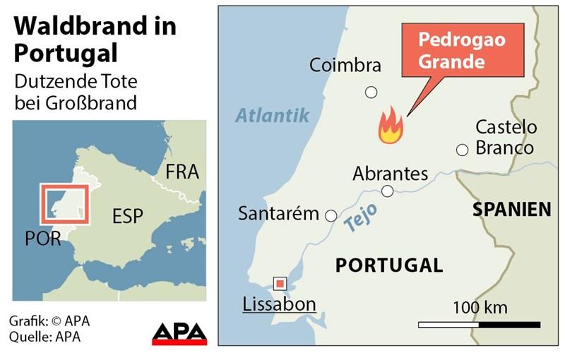 Waldbrände Portugal Karte.Mindestens 62 Tote Bei Waldbrand Durch Blitzschlag In Portugal