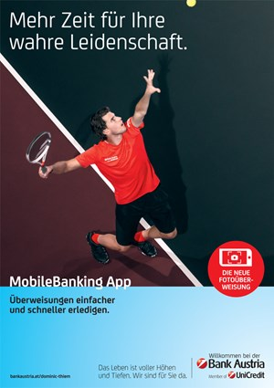 bank austria startet kampagne mit dominic thiem werbung etat. Black Bedroom Furniture Sets. Home Design Ideas