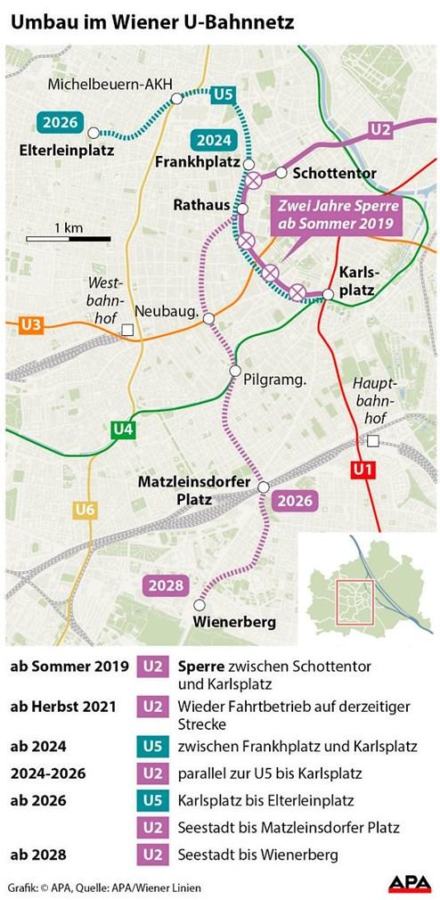 U5 fährt erst ab 2024 durch Wien, ab 2019 zweijährige U2-Teilsperre ...