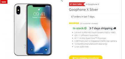 screenshot: goophone store