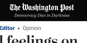 "Reaktion auf Donald Trumps Angelobung ""Democracy Dies in Darkness"" steht unter dem Logo der ""Washington Post""."