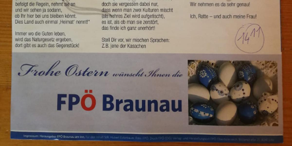 Fpö Braunau Dichtet über Ratten Mit
