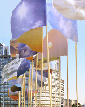 """One Sky Flags"" vor dem EU-Parlament in Straßburg (Visualisierung)."