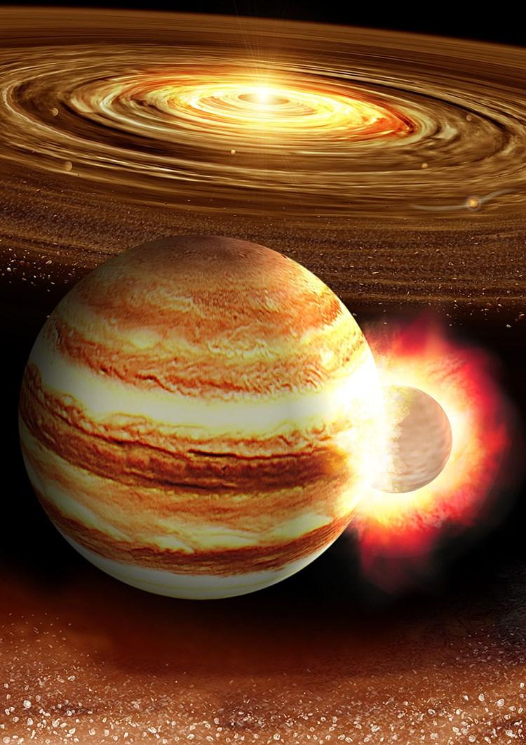 Der junge Jupiter wurde von einem riesigen Planeten getroffen
