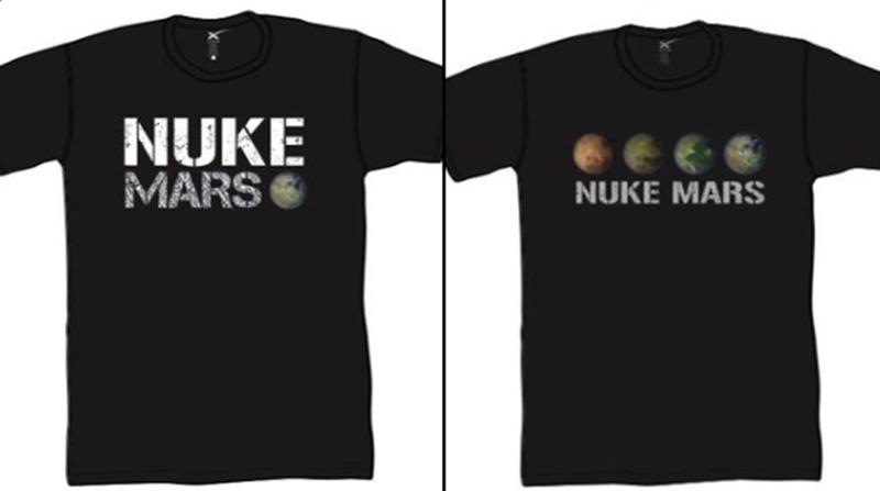 """Elon Musk verkauft nun Shirts mit der Aufschrift """"Bombardiert den Mars"""""""