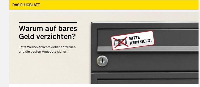 Bitte Kein Geld Post Fährt Kampagne Gegen Keine Werbung