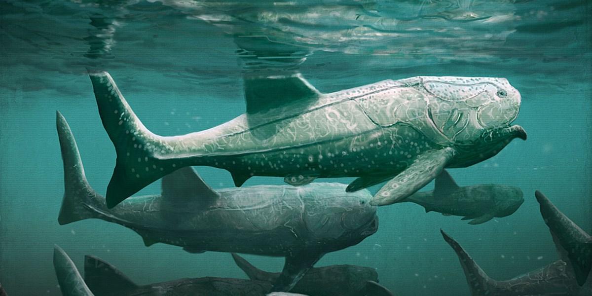 Riesiger Fisch pflügte mit weit geöffnetem Maul durch die Meere des Devon