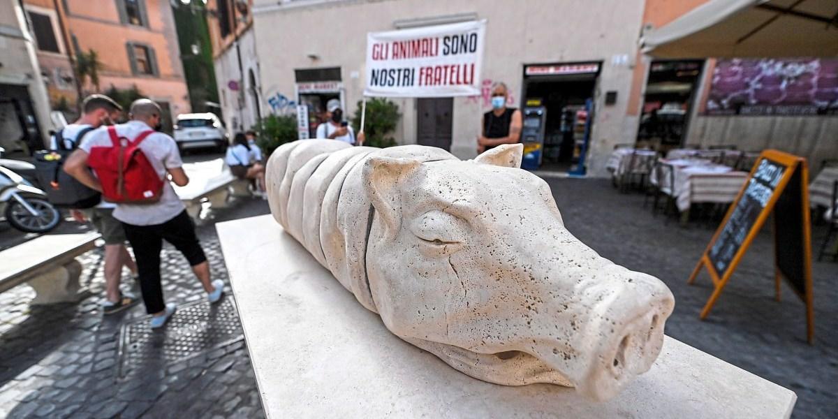 Statue eines Spanferkels in Rom bringt Tierschützer auf Palme