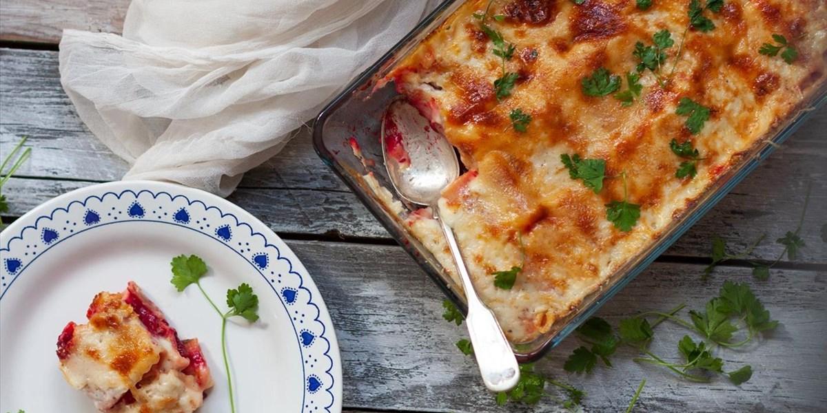 Pasta al forno: Überbackene Ricotta-Rote-Rüben-Nudeln